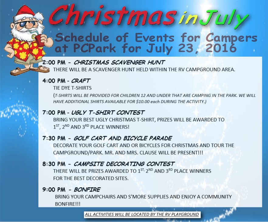 Christmas In July Camping.Schedule For Christmas In July Pulaski County Park